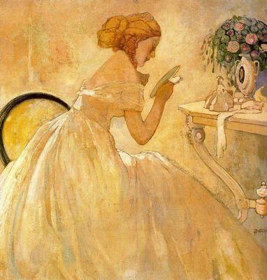 """Xavier Gosé Rovira (1876-1915). """"Señora con espejo (Mujer en el tocador),1902-1904"""". Óleo sobre tabla. 74 x 71 cm. Colección José María Catá Virgili."""