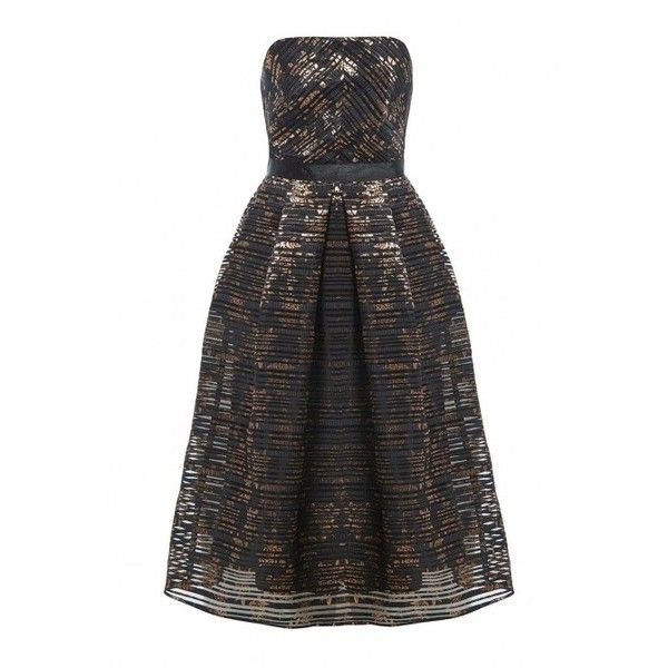 Alesha Dixon Strapless Metallic Copper Midi Dress in Black ($89) ❤ liked on Polyvore featuring dresses, sparkly midi dress, fit and flare dress, midi dress, strapless cocktail dresses and midi cocktail dress