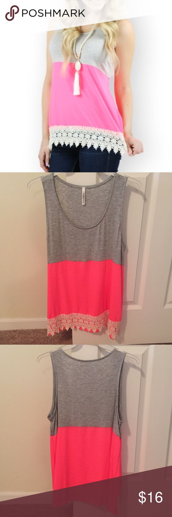 Dottie Couture Boutique hot pink & gray top NWT. Tops Tank Tops