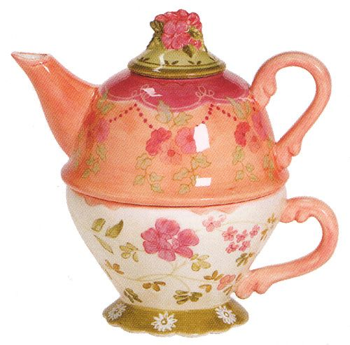 """This is a """"Tea for One"""" teapot and cup. The teapot rests on top of the cup. I have several of these in my collection."""