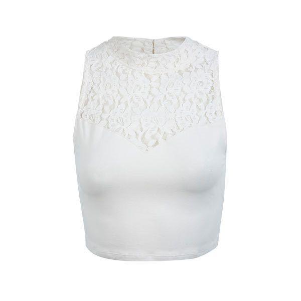 Top court blanc en dentelle à col roulé - Miss Selfridge France ($94) ❤ liked on Polyvore featuring tops, shirts, miss selfridge, miss selfridge tops and shirt top