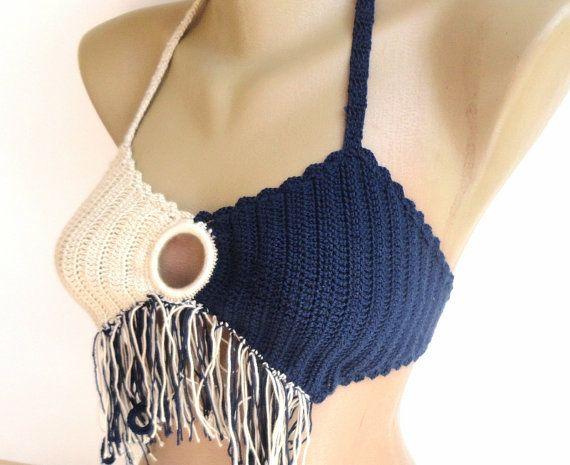 summer fashion crochet bikini top ,festival bikini top ,cotton beach bikini top ,women bikini , for her on Etsy, $19.90