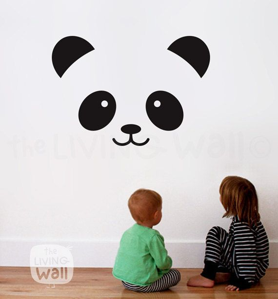 Absolutely adorable and a cute idea for the kids room! #Panda #Face #Nursery #Wall #Decal #Baby #Room #WallArt #Cute #Adorable #Black #Monochrome #Design #Childrensroom #Kidsroom #Sticker #Ad