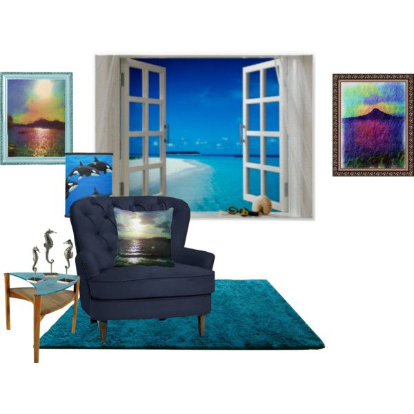 Small room ocean view by ziernor on Polyvore featuring interior, interiors, interior design, home, home decor, interior decorating, Pottery Barn, Orca and Antigua