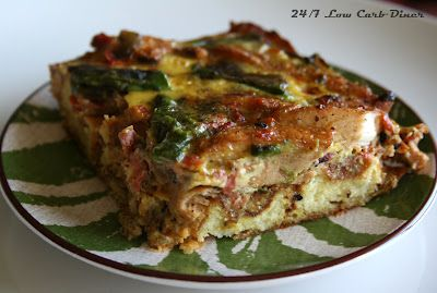 24/7 Low Carb Diner: Southwest Chicken Brunch Bake. With a base of almond flour waffles, this casserole dish is great any time of day. Gluten free
