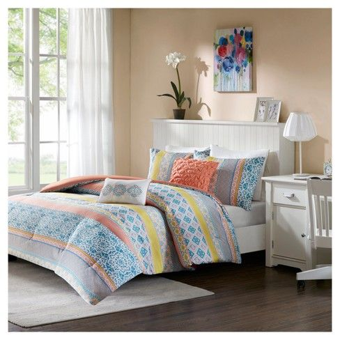 Callie Floral Printed Comforter Set  Target in a purple and blue