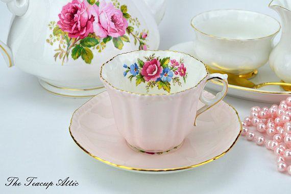 Royal Grafton Soft Pink Teacup And Saucer With Deep Pink