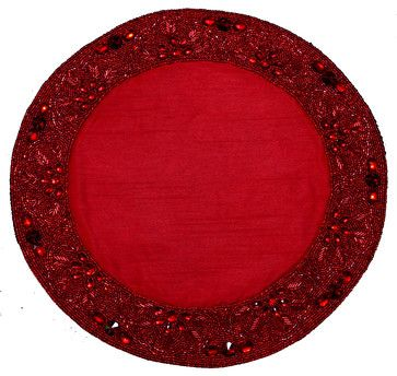Beaded Placemat Red - traditional - Placemats - Golden Hill Studio