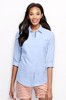 Women's Long Sleeve Oxford Shirt - Ribbon Trim from Lands' End