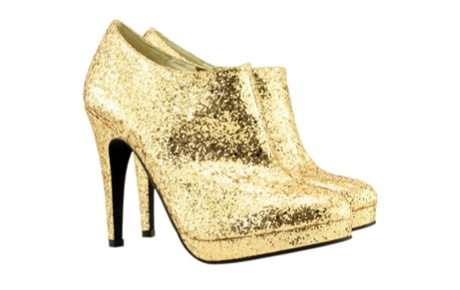 SHOES OF PREY Glitter Gold ankle boots, $350