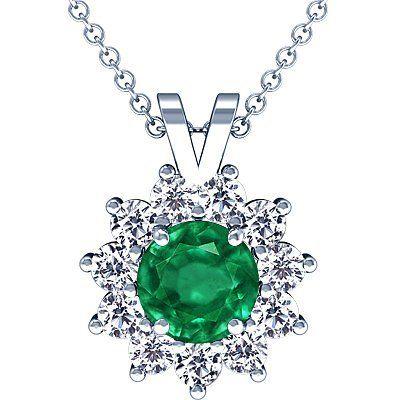 Platinum Round Cut Emerald And Round Diamond Pendant GemsNY. $5074.00. Save 50%!