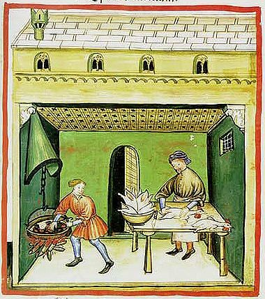 A Feast For The Eyes  52. Preparing poultry; from the Tacuinum Sanitatis, Österreichische Nationalbibliothek, Vienna, Codex Vindobonensis S.N. 2644.