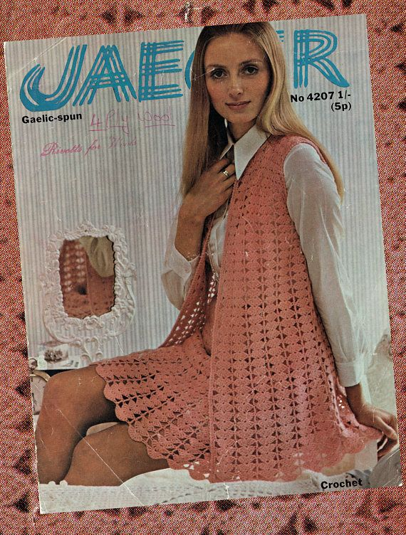 Original Vintage Womens CORAL Waistcoat & Skirt Suit Dress
