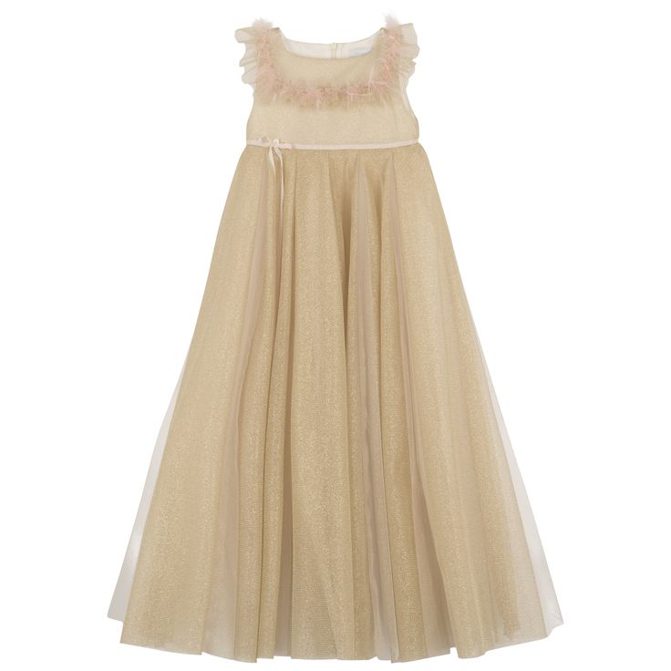 Ceremonial dress in golden tulle embellished by a light pink velvet belt #outfit #FW15 #fall #winter #kidsfashion #ceremony  #golden #tulle #lightpink #velvet