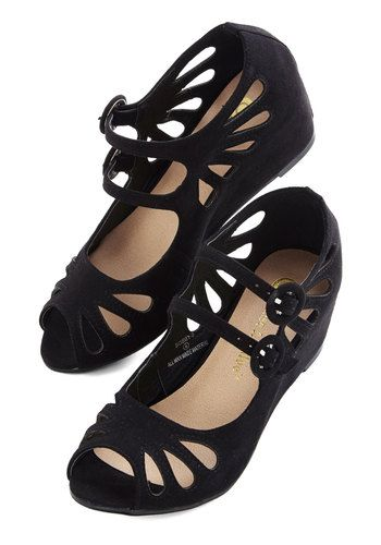 Grand Ole Opera Wedge in Black - Mid, Faux Leather, Black, Solid, Cutout, Party, Good, Wedge, Variation