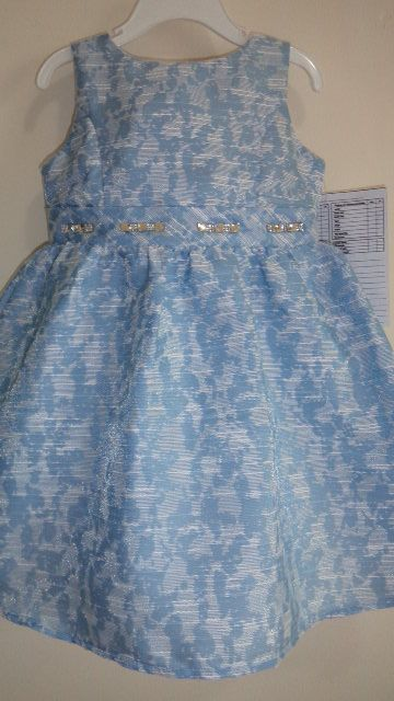infant dress in jacquard fabric with rhinestone accent on waistline...gorgeous!