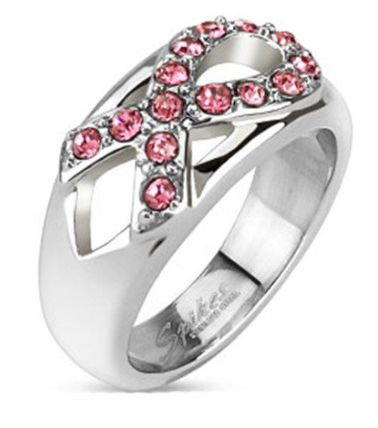 ribbon ring enamel pink expressions in breast p silver cancer awareness rings sterling stackable v