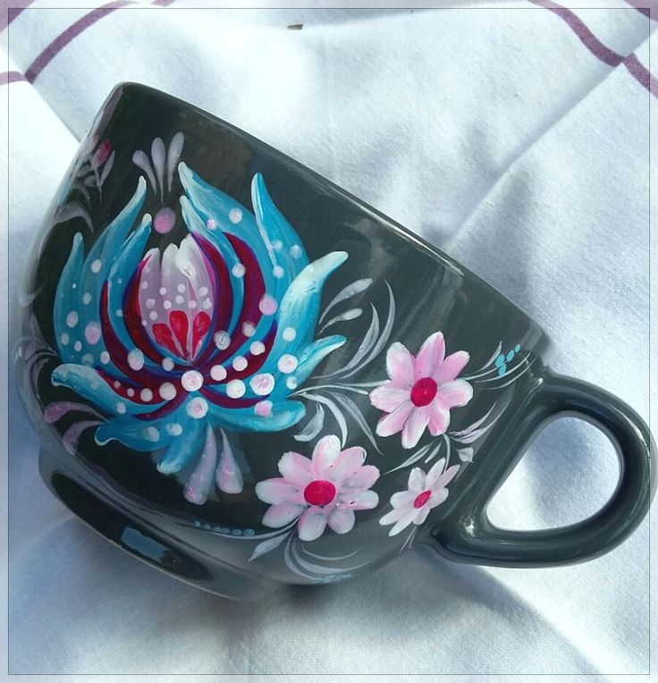 Flower Painted tea MUG Gift, Unique Tea Mug, Cappuccino Mug Pottery, Gift for Her, Gift for Mother, Housewares Gift handpainted by Halyna Kulaga