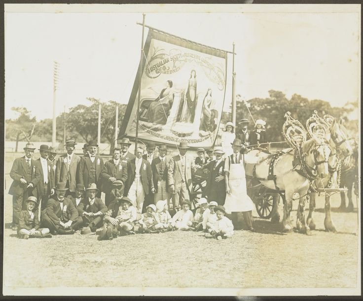 Australian Society of Progressive Carpenters and Joiners banner at the Eight Hour Day demonstration, Sydney, circa 1910s. Mitchell Library, State Library of New South Wales: http://www.acmssearch.sl.nsw.gov.au/search/itemDetailPaged.cgi?itemID=431507. Digital order no.: a3860001.