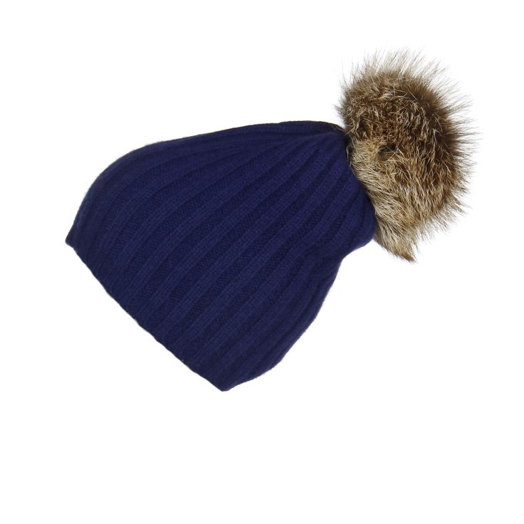 Ribbed Navy Cashmere Hat with Caramel Pom-Pom