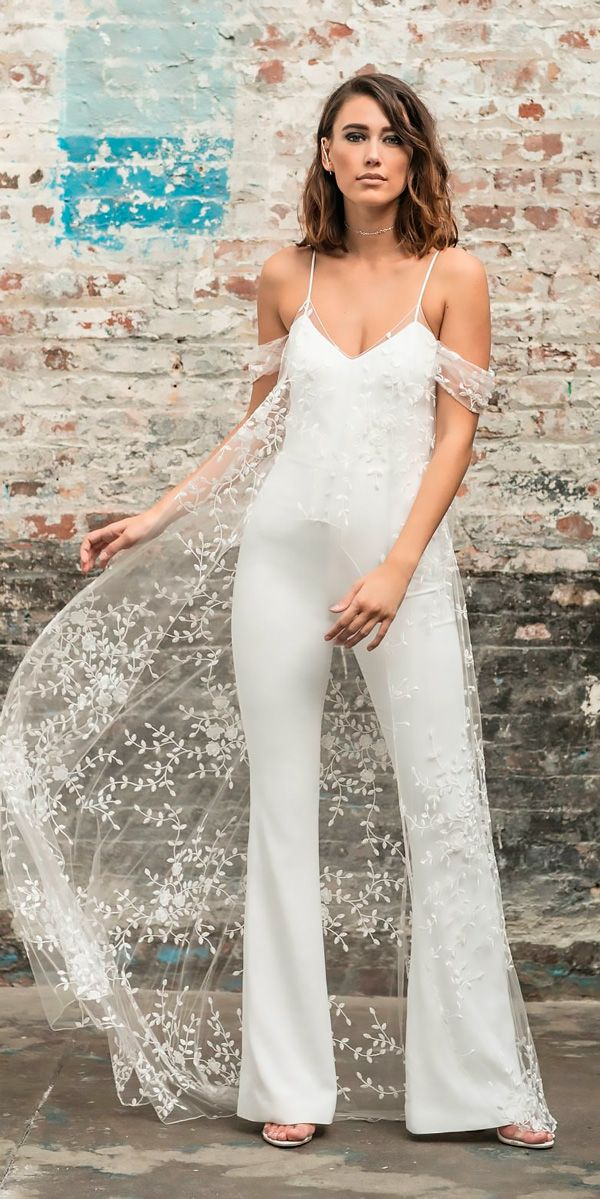 a749543877bd Wedding jumpsuit with train!  wedding  jumpsuit  weddingstyle
