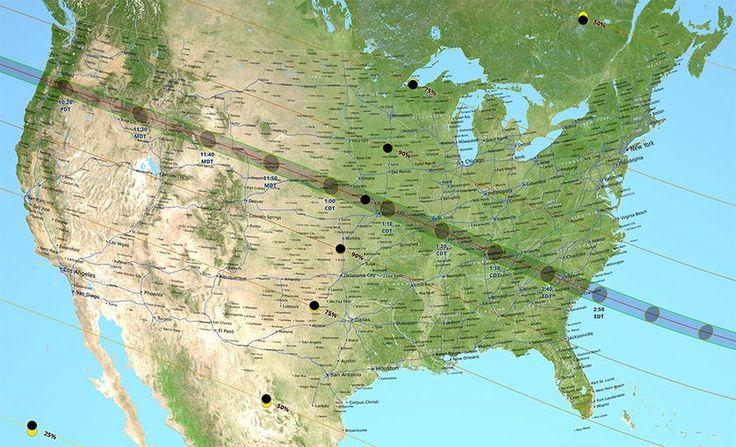 a map showing how the great american eclipse will appear from different points in the united