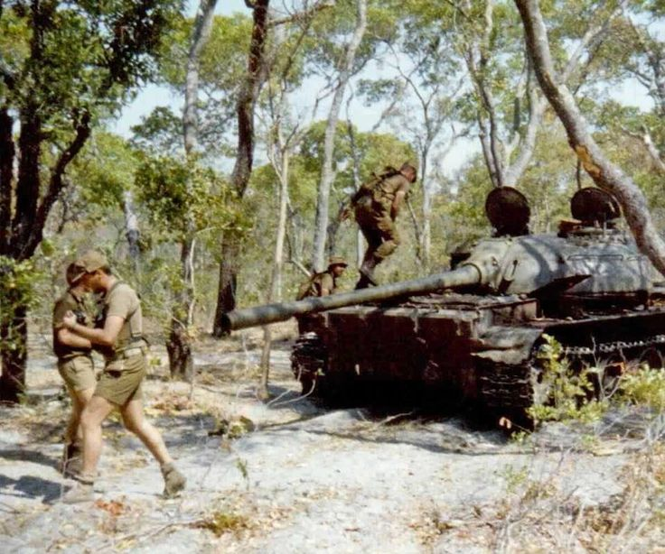 Cuban tank knocked out by SADF.