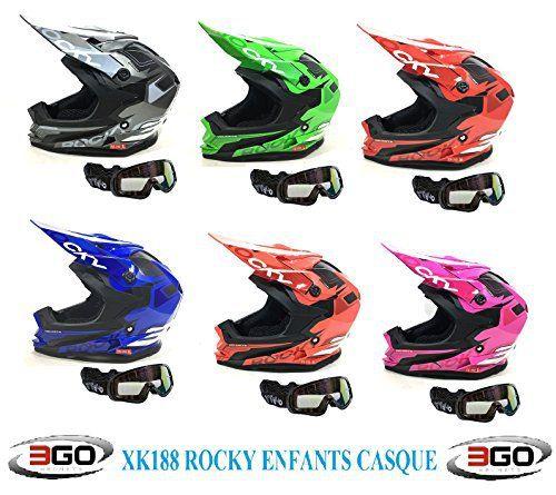Casque moto enfant 3GO XK188 ROCKY ENFANTS CASQUE Motocross Quad MX ATV sport ECE ACU certifié Casque et moto X1 noir lunettes (ROSE, M):…