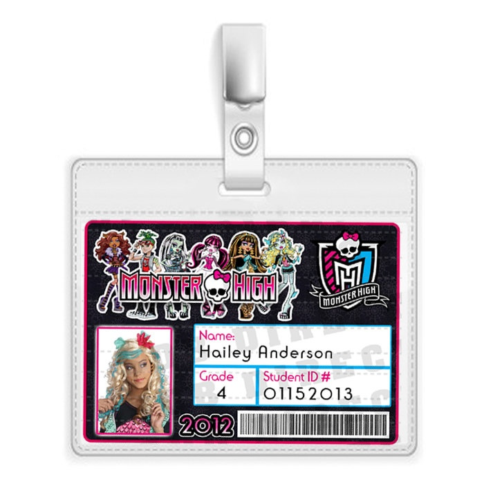 Monster High School ID Badge Monster High Favors by SDBDIRECT
