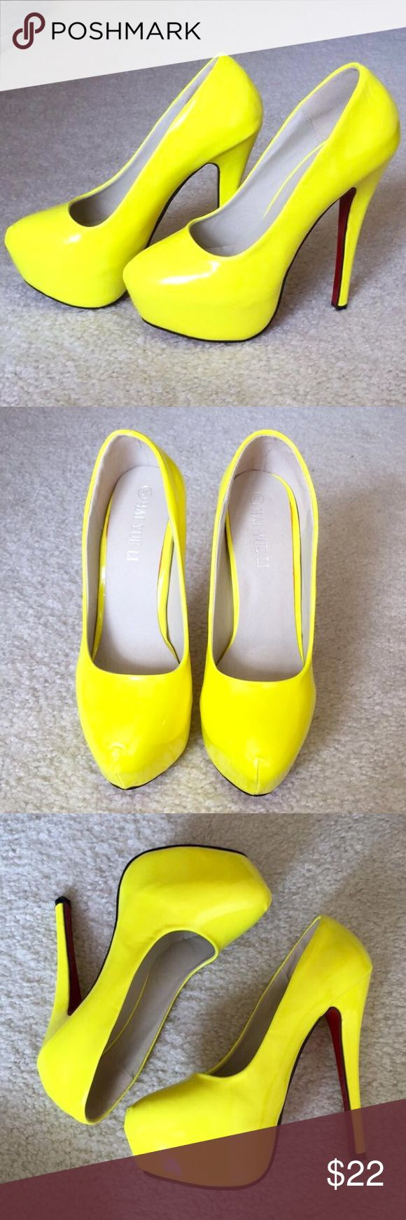 Neon pump size 37 Neon yellow pump with red bottom. Size 37. Never worn! Not from listed brand!! Nasty Gal Shoes Platforms