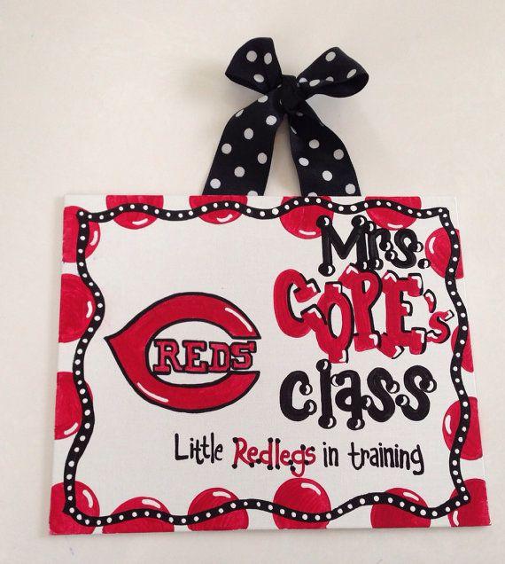 Teacher Sign classroom decor Cincinnati Reds MLB baseball classroom birthday gift teacher appreciation  hanging PERSONALIZE your own sign