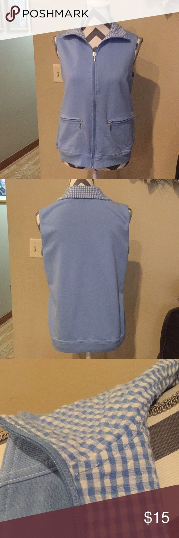 Sleeveless lightweight front zip vest Light blue zipped vest with blue and white gingham lined and accented collar. Laura Scott Jackets & Coats Vests
