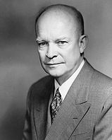 1956. Dwight D Eisenhower was re-elected president against opponent Adlai Stevenson.