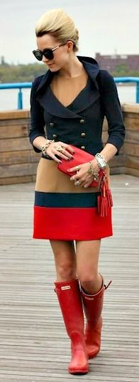 nautical inspired outfit- hunters and navy jacket