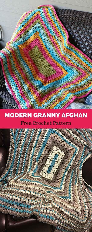 Modern Granny Afghan [ FREE CROCHET PATTERN   Crochet   Pinterest ...