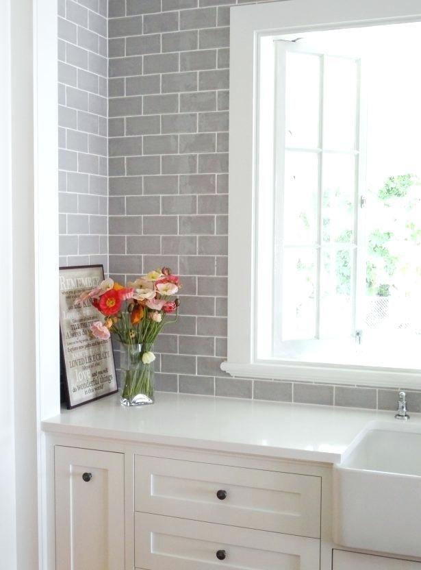 Incredible Stylish Light Gray Subway Tile Backsplash Gray Subway Tile Light Gray Subway Tiles Square Trendy Kitchen Tile Home Kitchens White Kitchen Backsplash