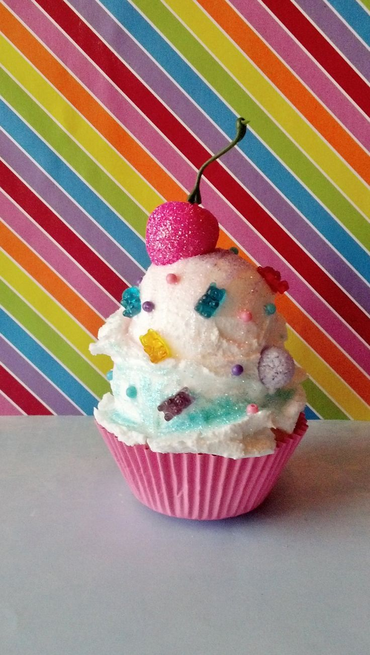 Ice cream fake cupcake photo props candy land birthday party decorations shop displays home - Creme decoration cupcake ...