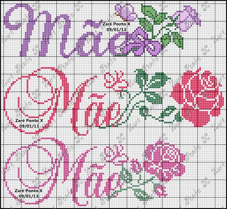 Gráficos lindos para bordar para o Dia das Mães         Gráficos by Ramalho       Gráficos da   Zaré Ponto X               Gráficos da Sol...