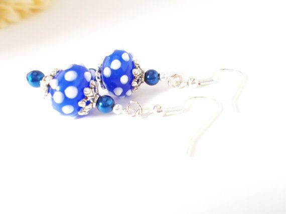 Polka Dot Earrings, Royal Blue White Earrings, Lampwork Earrings, Cobalt Beaded Earrings, Seed Pearl Earrings, Navy Blue and White Earrings