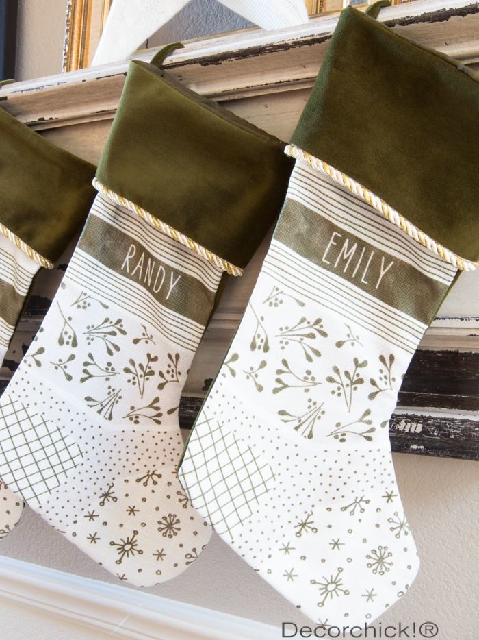 Personalized Monogram Stockings in moss green with gold rope trim. @tabbordelon pass this along to your sis-in-law! Random.