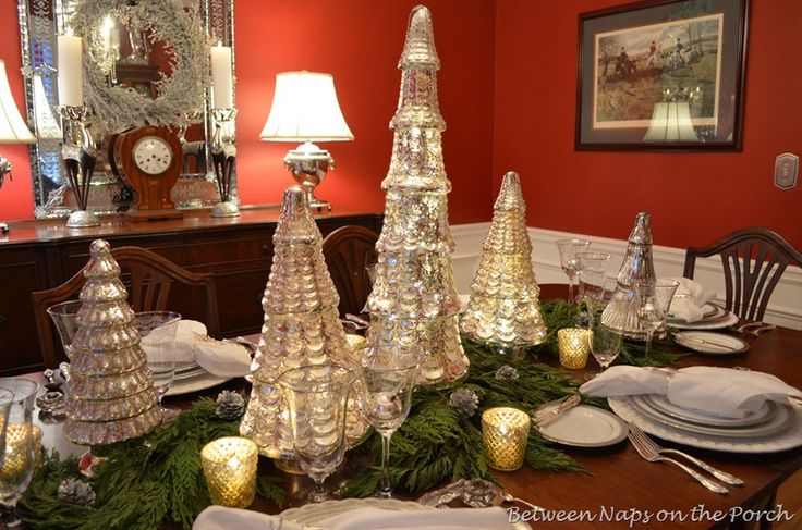 Mercury glass trees used in a beautiful setting for your for Home decor accents holiday decorations accessories