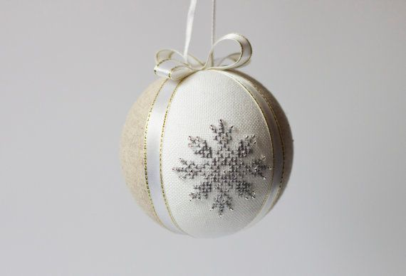 Christmas tree ball ornament natural linen covered with by RedPin, $25.00