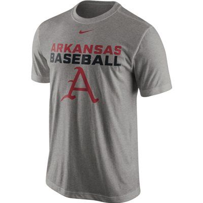 Nike Arkansas Razorbacks Baseball Team Issue Legend Performance T-Shirt - Ash