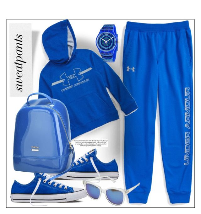 Sweatpants by evachasioti on Polyvore featuring Furla, Swatch, Steve Madden, Under Armour, sweatpants and polyvorecontest