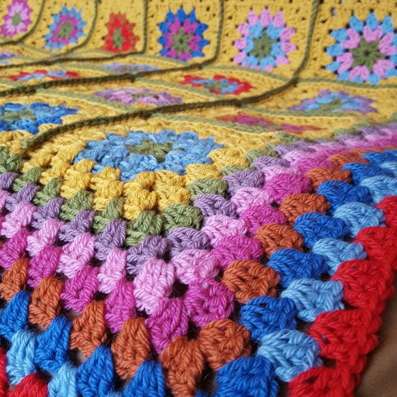 BLACK FRIDAY SALE Granny Squares Blanket Desert by Thesunroomuk