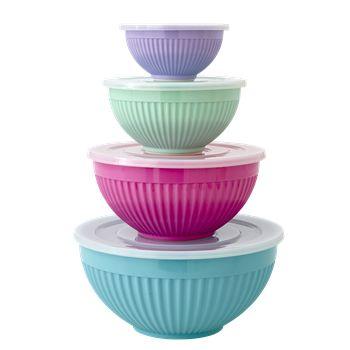 RICE, melamin opbevaringsskåle med låg, sæt med 4 skåle i forskellige farver. 299,-