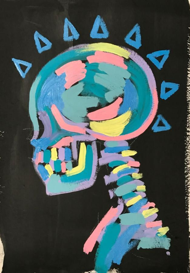 Available for sale from Maddox Gallery, Bradley Theodore, Skull Spikes Acrylic on cold press paper, 78 × 57 cm Simple Canvas Paintings, Easy Canvas Art, Small Canvas Art, Mini Canvas Art, Canvas Painting Designs, Disney Canvas Art, Easy Canvas Painting, Hippie Painting, Trippy Painting