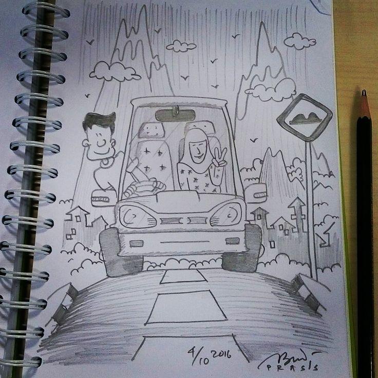 Yuk #jalanjalan lagi menikmati #pemandangan #gunung.    #iseng #sketch #pencil #sketsa #sketsapensil #karikatur #caricature #pencilsketch #menggambar #gambar #ilustrasi #ilustration #sketching #drawing #turing #touring #driving #mountains #mountain #hill #car #drivingacar #liburan #otw #mountainview #prasssketch