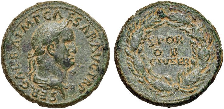 NumisBids: Nomisma Spa Auction 50, Lot 25 : ROMA IMPERO Galba (68-69) Sesterzio – Busto laureato a d. – R/...