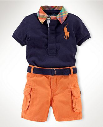 Ralph Lauren Baby Set, Baby Boys Rugby Polo and Cargo Shorts Set - Kids Baby Boy (0-24 months) - Macy's